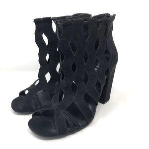 TORRID black faux suede lace cut peep toe booties